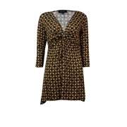 Karen Kane Women's Medallion Print Twist Front Detail Top (S, Multi)