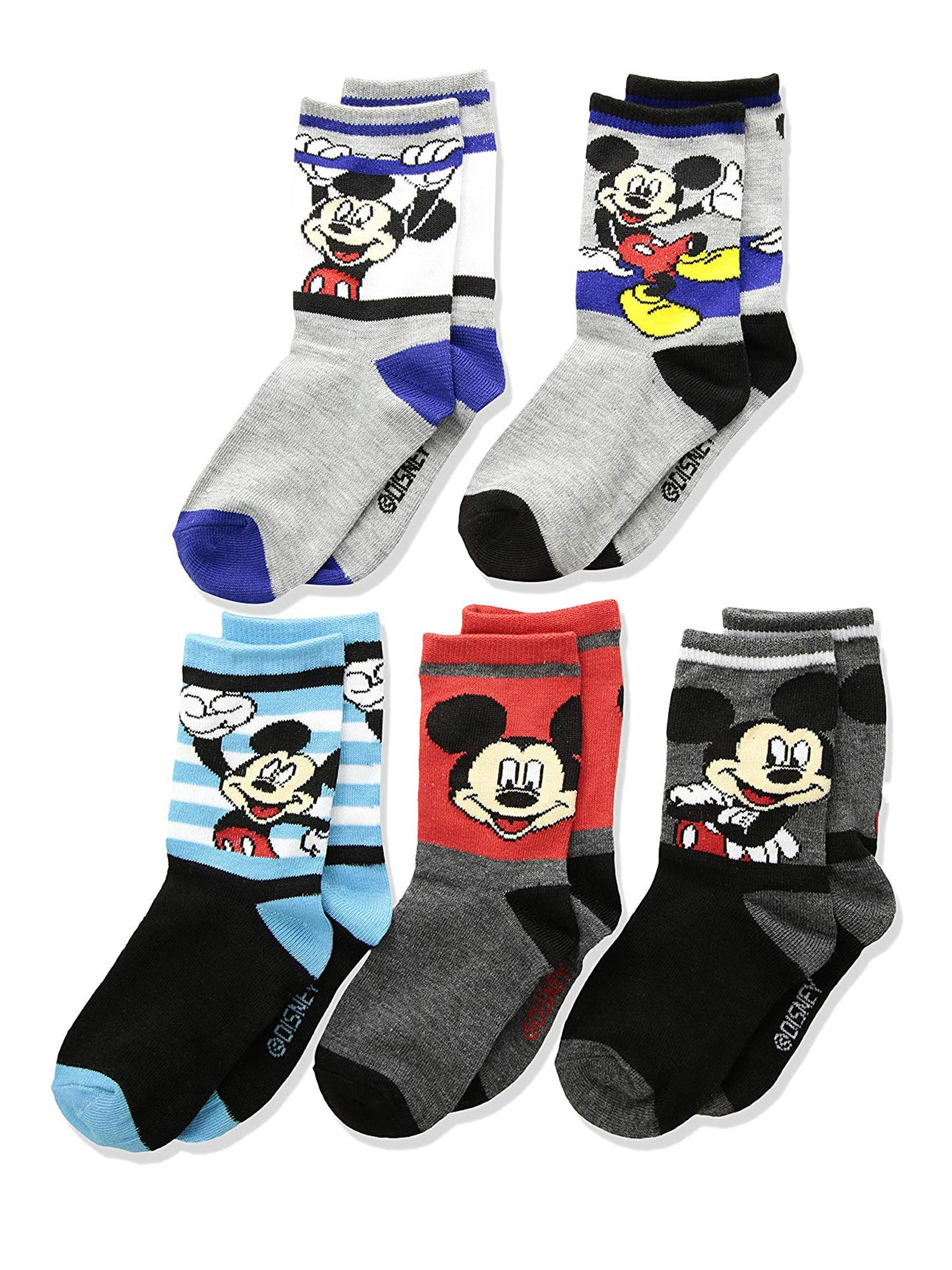 Toddler Boys Mickey Mouse Crew Socks 5-PAIRS Shoe Size 10-4
