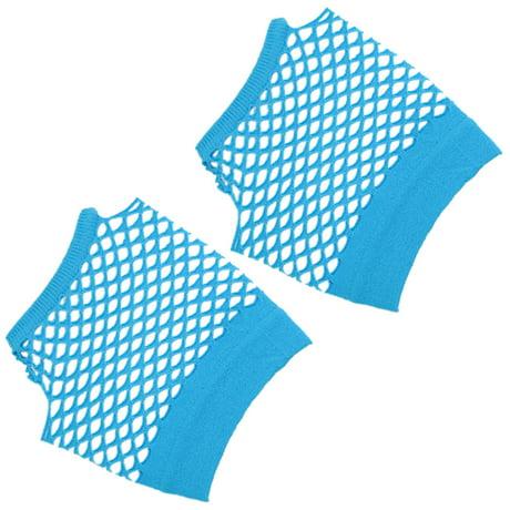 Unique bargains fish net elastic short gloves fingerless for Fishing gloves walmart