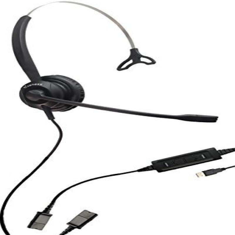 XS 820 USB Headset for PC, MAC and USB Telephones | Quick-Disconnect Cable included | Connects to Headset to PC, MAC, Lync, Skype & USB VoiP Phones | Mute, Volume and Answer buttons