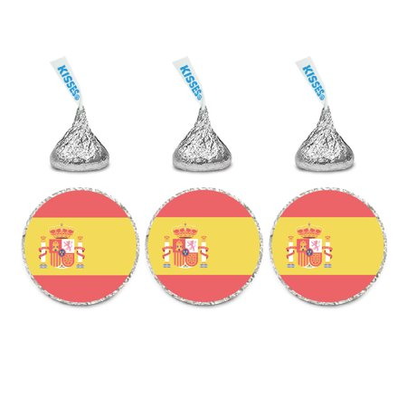 Global World Flag Party Collection, Chocolate Drop Label Stickers, Spain, 216-Pack (Spain Party)