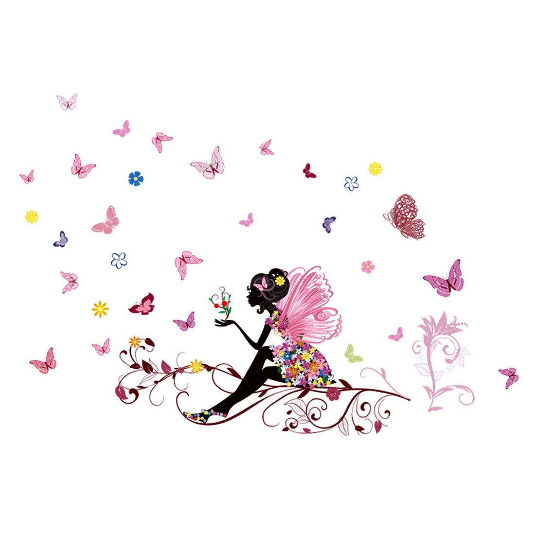 Butterfly Flower Bicycle Girls Home Room Decor Peel and Stick Wall Decals Art Stickers Mural