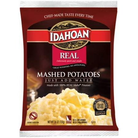 Idahoan Real Mashed Potatoes, Made with Gluten-Free 100-Percent Real Idaho Potatoes, Pack of 12 Pouches (32 Servings Each)