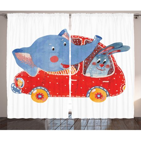 Cartoon Decor Curtains 2 Panels Set, Watercolor Sketch Of Young Blushed Elephant And Hare In Small Car Best Friend Travel, Living Room Bedroom Accessories, By