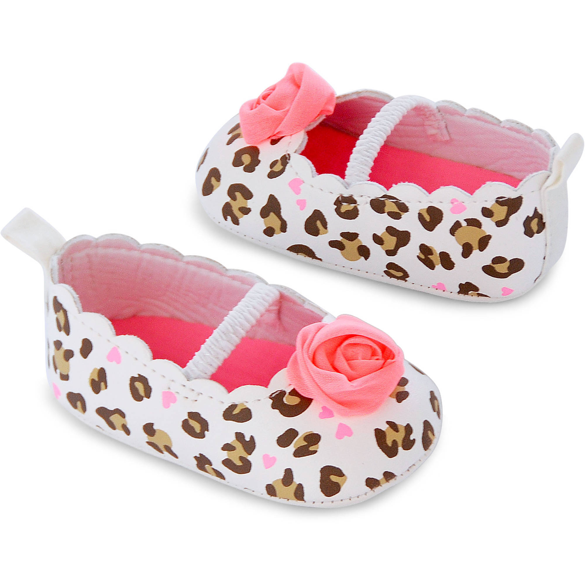 Child of Mine by Carter's Newborn Baby Girl Rosette Leopard Mary Jane Flat Shoes, Newborn