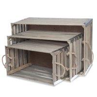 Six Slat Wood Crate Rope Handles - Set of Three