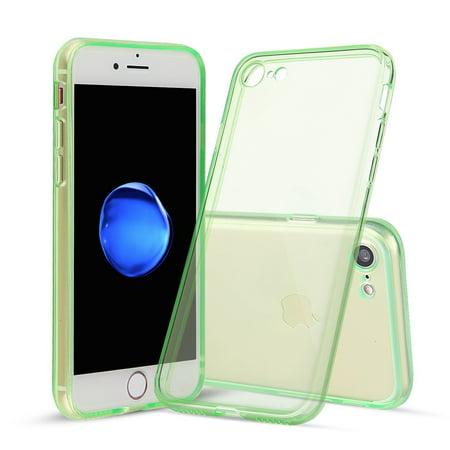 timeless design e71ec c90ac For iPhone 7, Shamo's® Green Case [Shock Absorption] Cover TPU Rubber Gel  [Anti Scratch] Transparent Clear Back Case, Soft Silicone, Front Screen ...