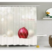 Christmas Shower Curtain Snow Effect Background Bauble With Curved Lines Xmas Trinket Happy Holidays