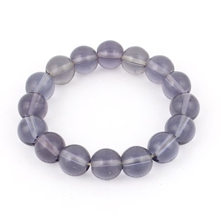 Unique Bargains Lady Jewelry Faux Crystal Beaded Elastic Wrist Bangle Bracelet Blue](Blue Bead Bracelet)