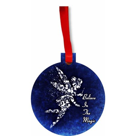 Holiday Magic Ornaments - Believe in the Magic- Flat Round Shaped Hardboard Hanging Christmas Holiday Tree Ornament Made in the U.S.A.