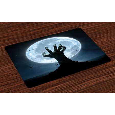 Halloween Placemats Set of 4 Realistic Zombie Earth Soil Full Moon Bat Horror Story October Twilight Themed, Washable Fabric Place Mats for Dining Room Kitchen Table Decor,Blue Black, by Ambesonne (Halloween Horror Nights October 4)