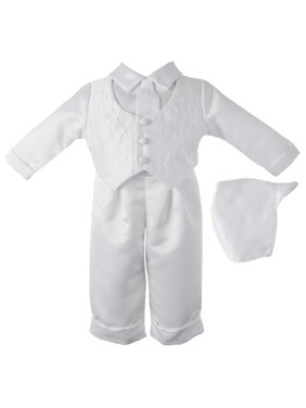 Little Angels Christening Baptism Baby Boy Diamond Embroidered Vest with Satin Pant Set & Coordinated Hat