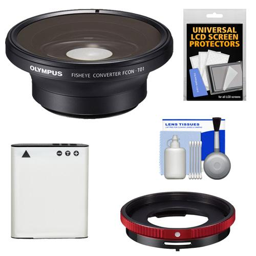 Olympus FCON-T01 Fisheye Converter Lens for Tough TG-3, TG-4 & TG-5 Waterproof Digital Camera with CLA-T01 Con