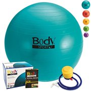 Fitness Ball - By BODYSPORT (TEAL 85 cm) Large Exercise Balls Great for Yoga Pilates Desk Chair - FREE Pump & Exercise Guide Included