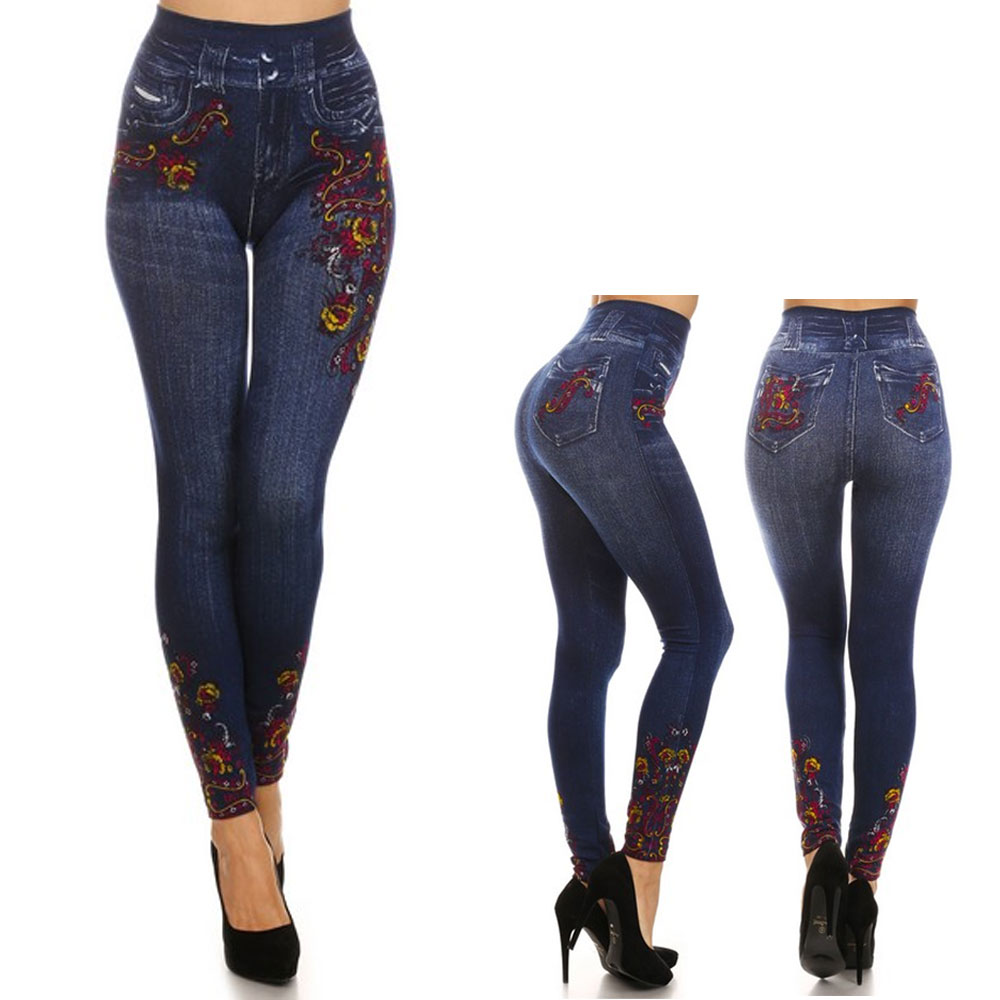 Women Skinny Jeggings Blue Stretchy Sexy Pant Pencil Leggings Jeans Soft Floral
