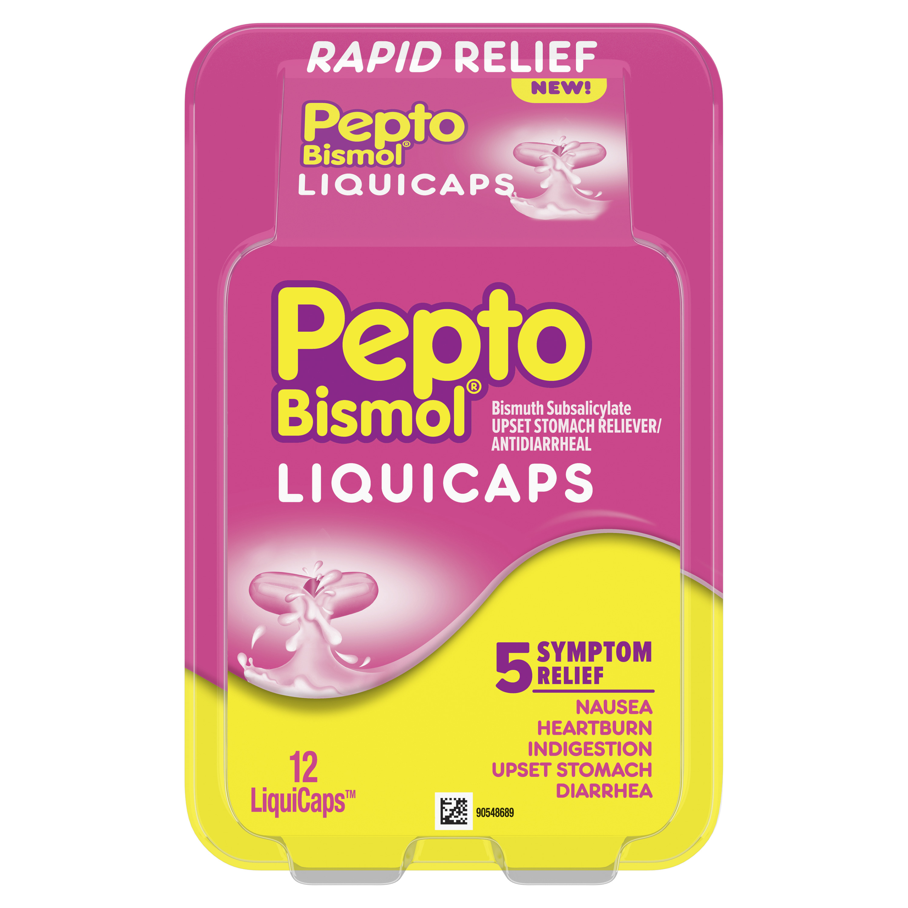 Pepto Bismol Liquicaps 12 Count Rapid Relief From Nausea Heartburn Indigestion Upset Stomach Diarrhea Walmart Com Walmart Com