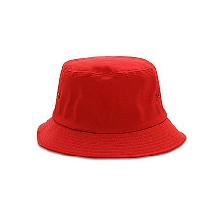 77deb9c73 COTTON BLEND TWILL BUCKET HAT, Red Small | Walmart Canada