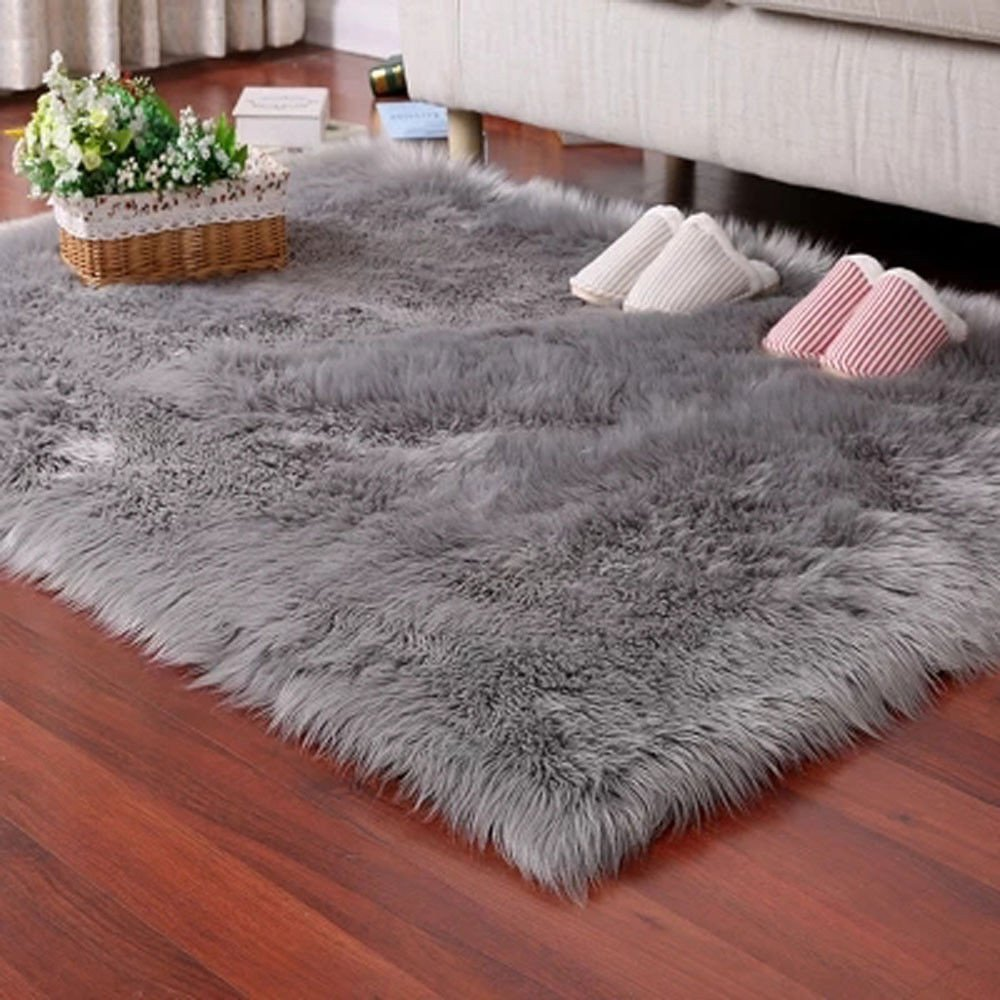 Popeven Fluffy Living Room Faux Fur Carpets Stylish Home D?cor Accent for Room Bedroom Nursery Bath Sofa Couch Stool Casper Vanity Chair Cover 2 x 3 feet