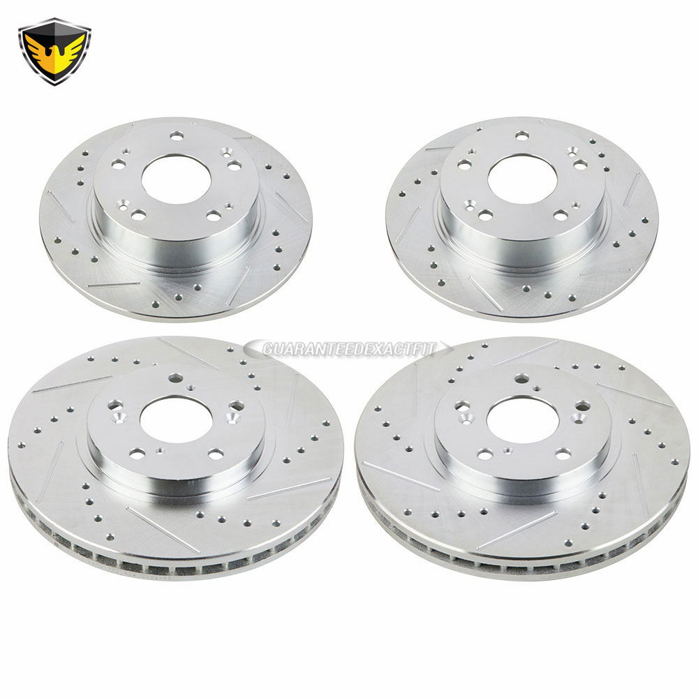 Duralo Front Drilled & Slotted Rear Brake Rotor Kit For