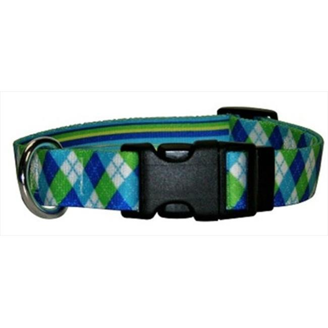 Yellow Dog Design BSGS101S Blue and Green Stripes Argyle Standard Collar - Small