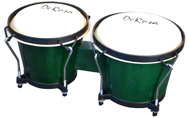 7 and 8 Inch Bongos Tunable Bongo Drums w Buckskin Heads Green by
