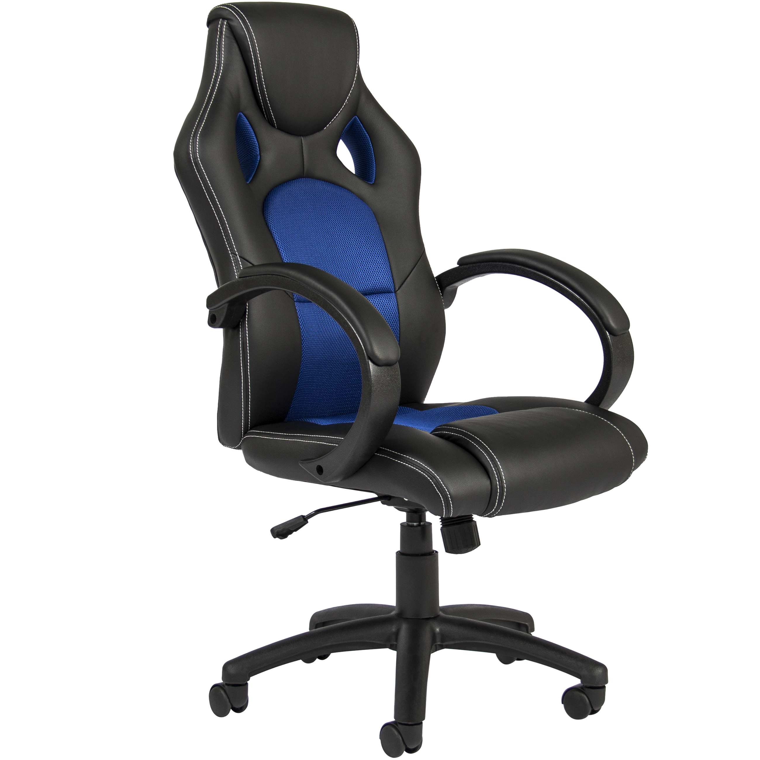 Best Choice Products Executive Padded PU Leather Racing Style Design Swivel Office Chair for Gaming, Work w/ High-Back Seat, Armrests, Tilt & Height Adjustment - Blue