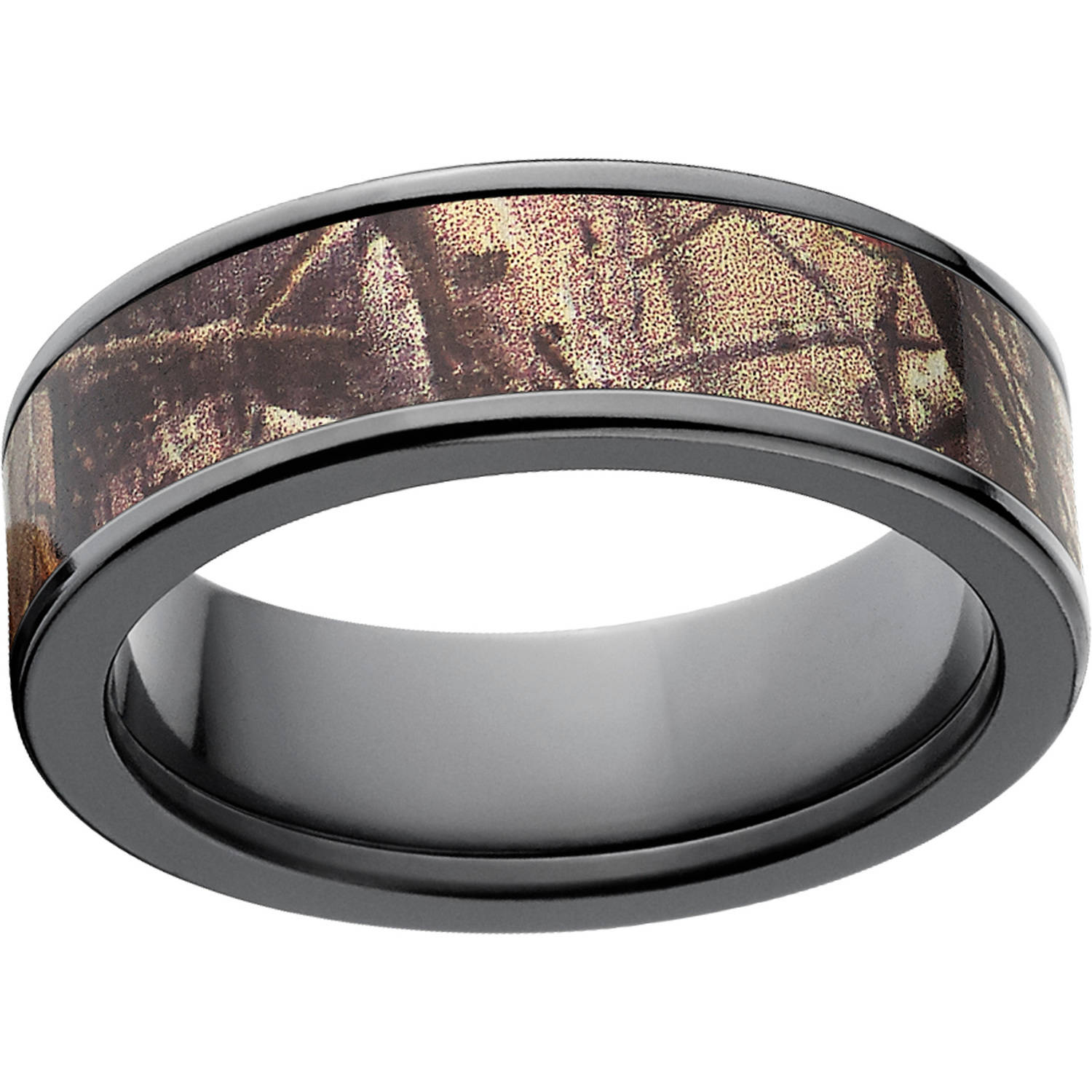 Realtree AP Men's Camo 7mm Black Zirconium Wedding Band with Polished Edges and Deluxe Comfort Fit