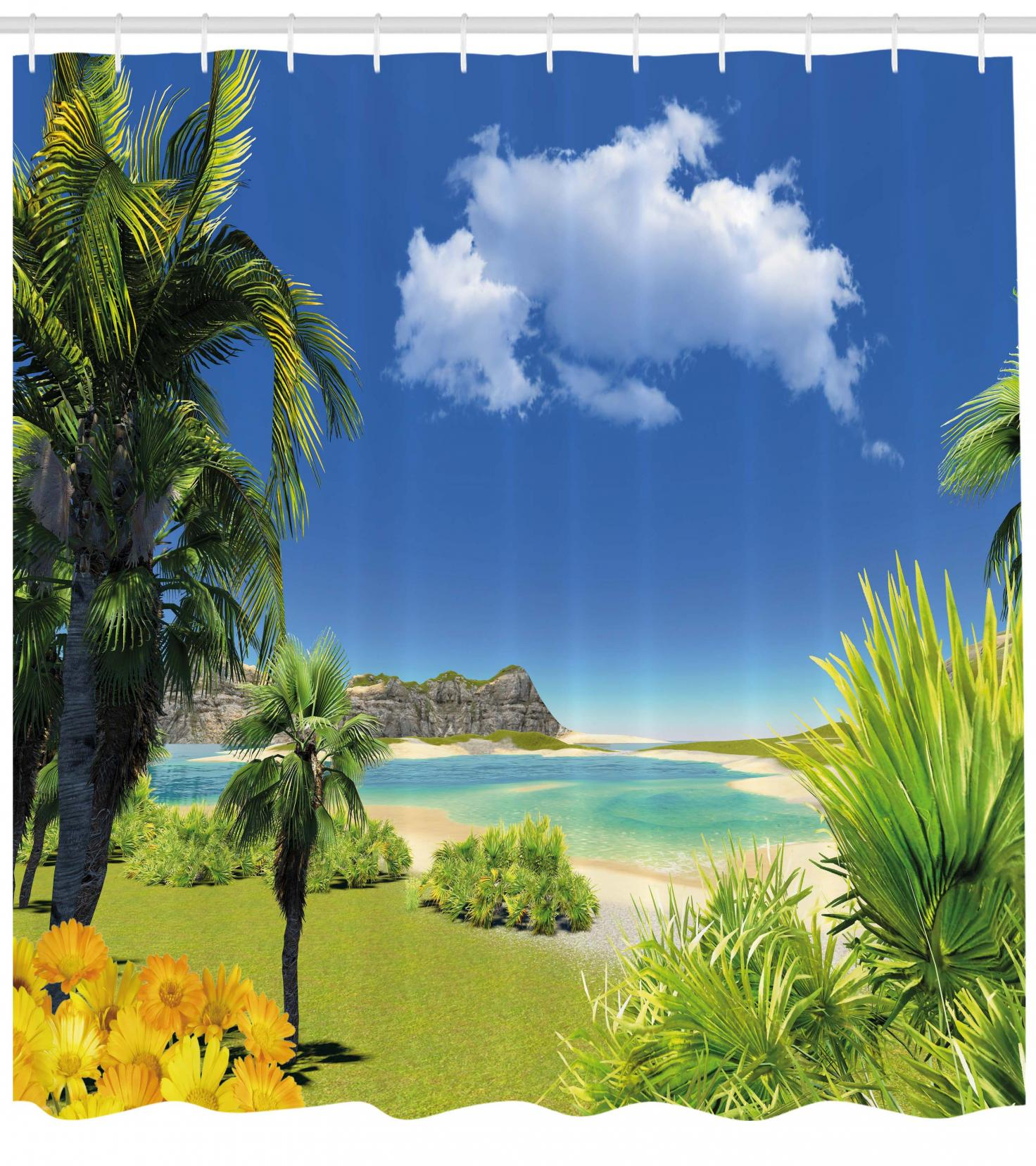 Palm Trees Tropical Island Ocean Beach Picture Art Prints Scenery Shower Curtain
