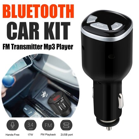 Tuscom Bluetooth Car Kit FM Transmitter Wireless Radio Adapter USB Charger  Mp3 Player - Walmart com