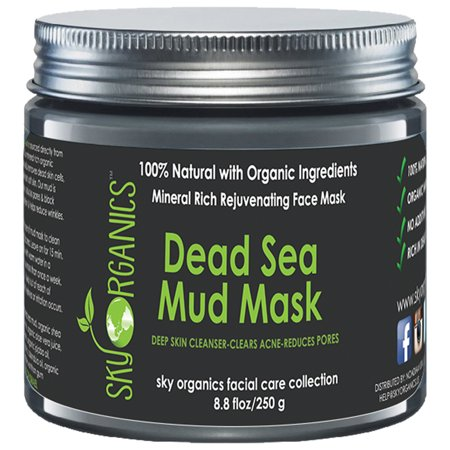 Dead Sea Mud Mask by Sky Organics For Face, Acne, Oily Skin & Blackheads - Best Pore Minimizer & Pores Cleanser Treatment - Natural & Organic Mud Mask For Younger Looking Skin