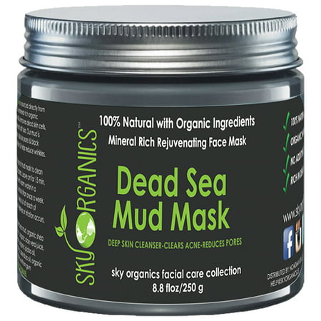 Dead Sea Mud Mask by Sky Organics For Face, Acne, Oily Skin & Blackheads - Best Pore Minimizer & Pores Cleanser Treatment - Natural & Organic Mud Mask For Younger Looking Skin 8.8oz ()