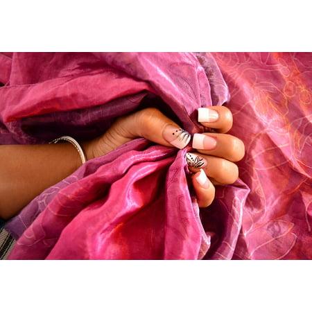 LAMINATED POSTER Hand Fabric Decoration Fingers Nail Fuchsia Silk Poster Print 24 x 36