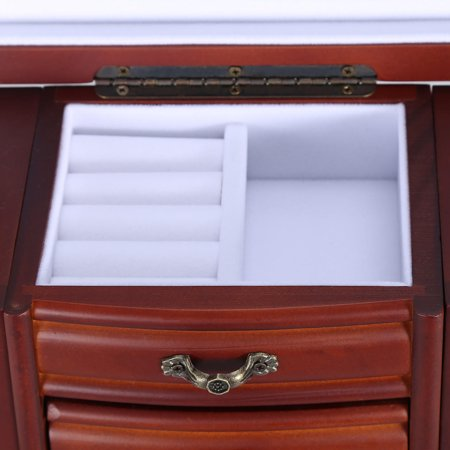 Wooden Jewelry Chest Organizer Box Wooden Earing Rings Cabinets Drawers Case with Mirror, Brown-SortWise™ - image 4 of 5