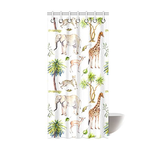 GCKG African Tropical Elephant Giraffe Shower Curtain Hooks 36x72 Inches White Colorful Fabric Wild Animals Cheetah Antelope In Savannah