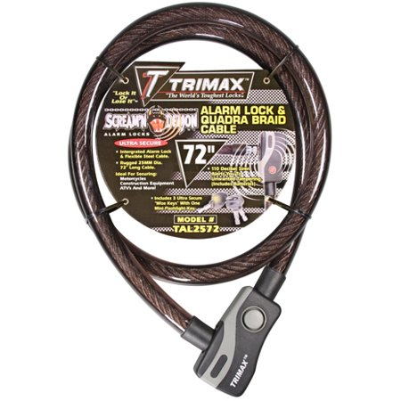 Trimax TAL2572 6' x 25 mm Alarm Lock and Quadra-Braid Cable 6 In Line Locking Tuners