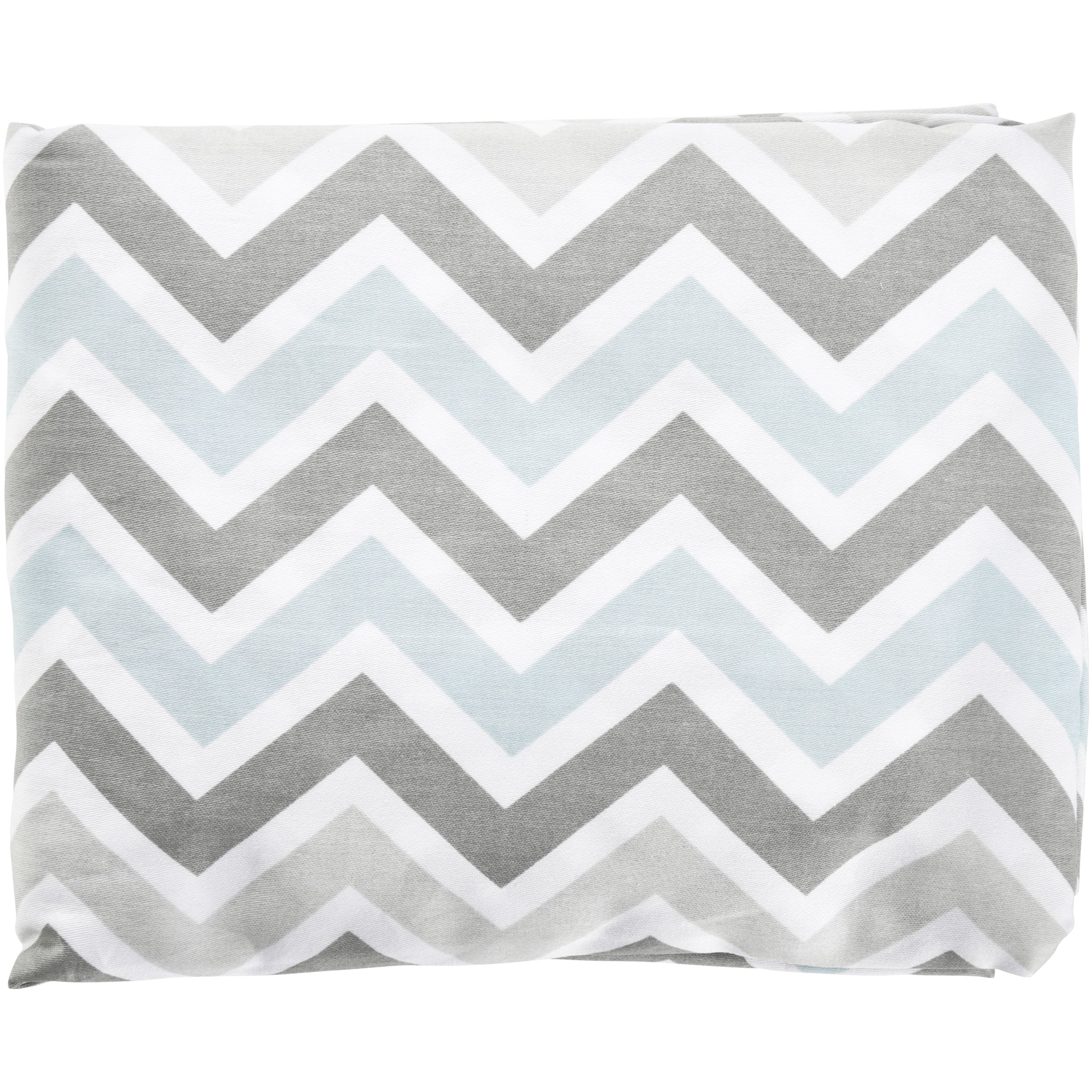 TL Care® 100% Cotton Percale Gray and Blue Chevron Fitted Crib Sheet