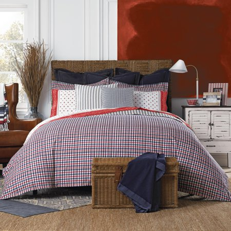 Tommy Hilfiger Timeless Plaid Reversible Cotton Comforter Set Full Queen Blue