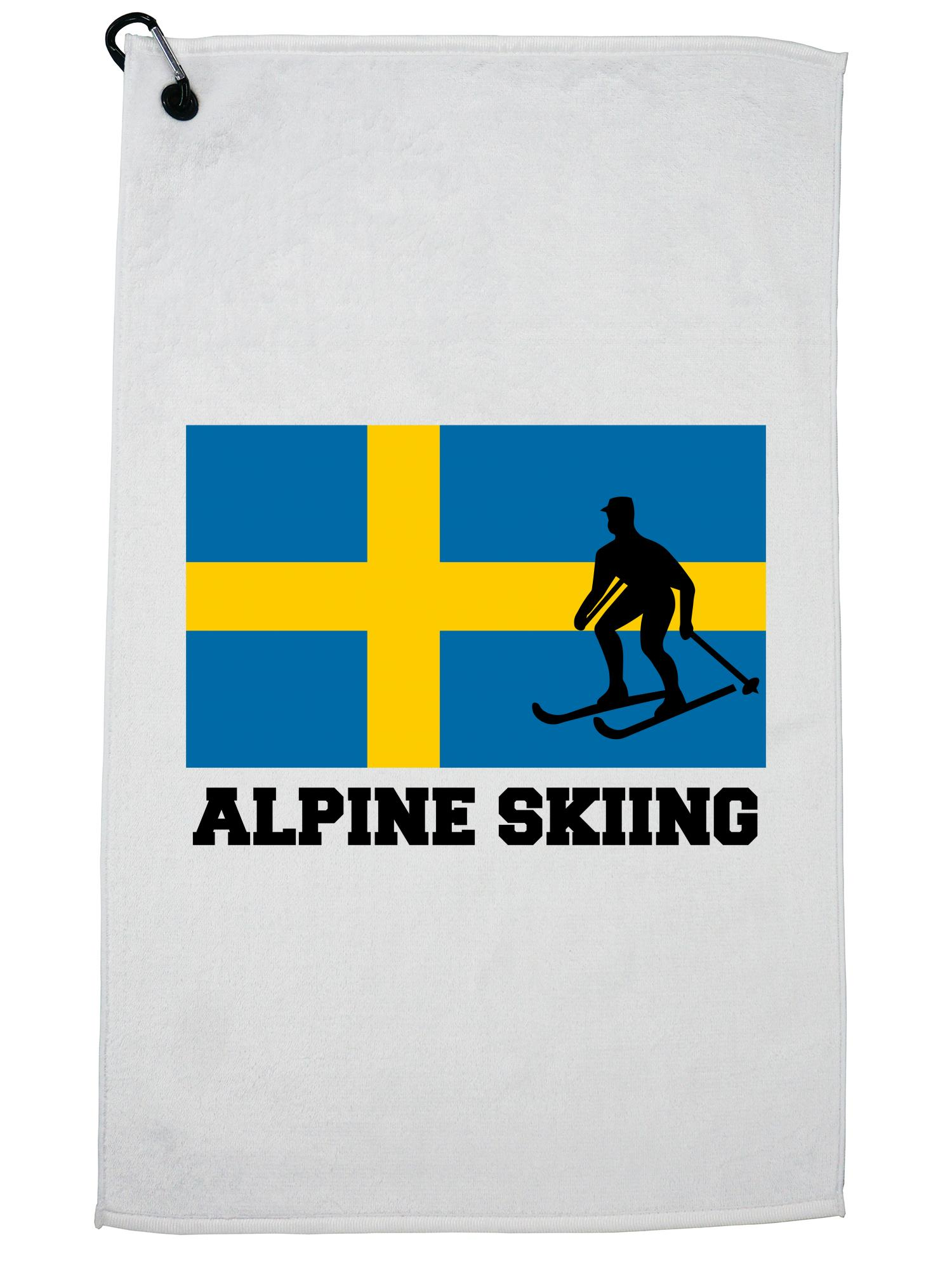 Sweden Olympic Alpine Skiing Flag Silhouette Golf Towel with Carabiner Clip by Hollywood Thread
