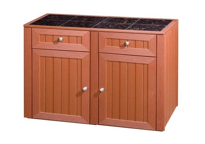 2 Drawer & 2 Door Storage Kitchen Cabinet (Deep Red