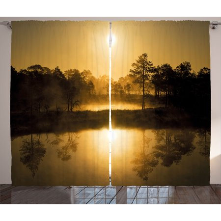 Nature Curtains 2 Panels Set, Idyllic Sunrise in the Bog with Tree Reflections on Lake Misty Magical Morning Scenery, Window Drapes for Living Room Bedroom, 108W X 63L Inches, Sepia,