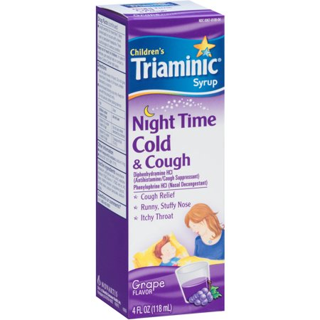 Triaminic Child Night Time Cold Cough, Grape, 4 OZ (Pack of 6)