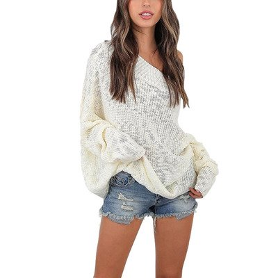 Women's Off Shoulder Batwing Sleeve Loose Oversized Pullover Sweater Knit