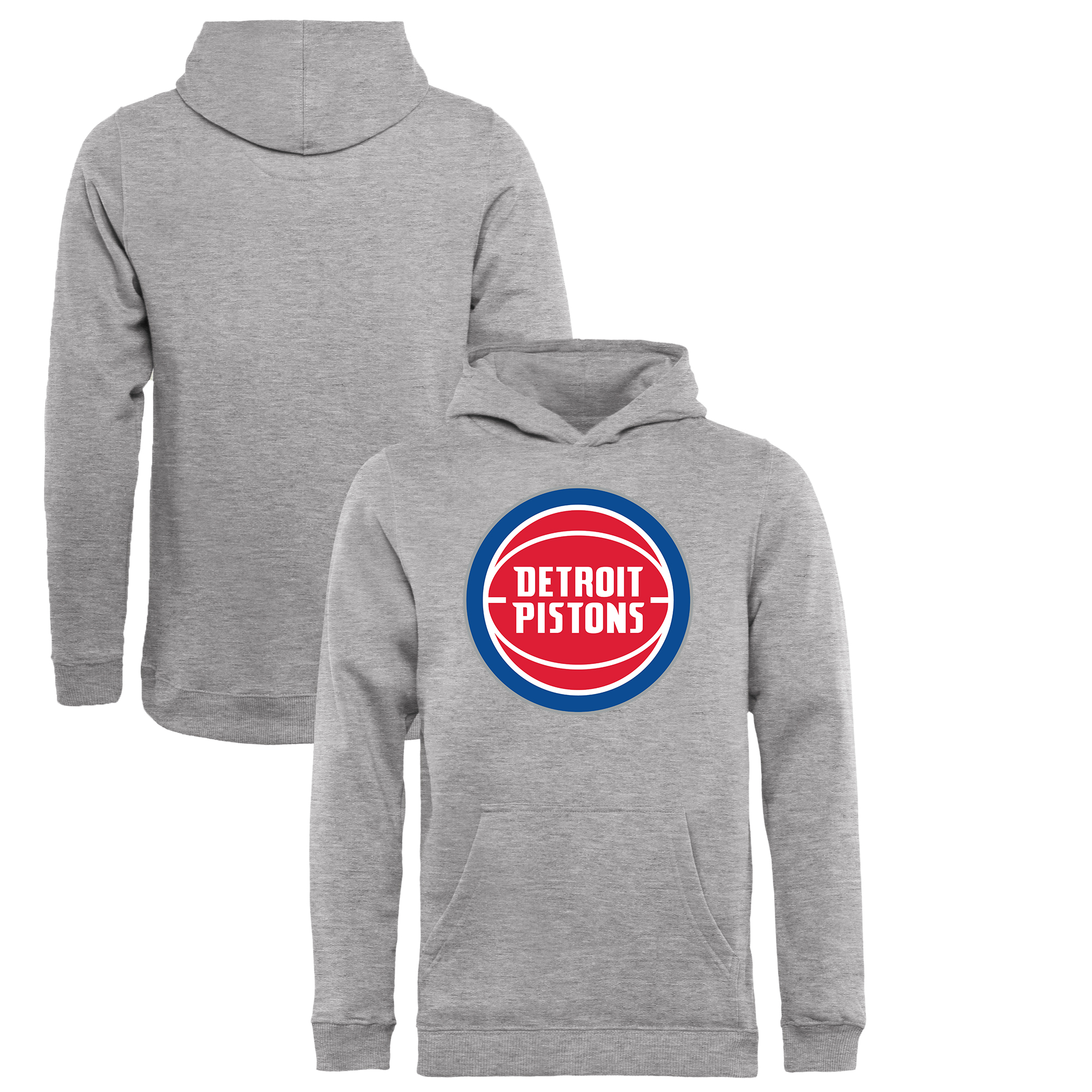 Detroit Pistons Fanatics Branded Youth Primary Logo Pullover Hoodie - Heathered Gray
