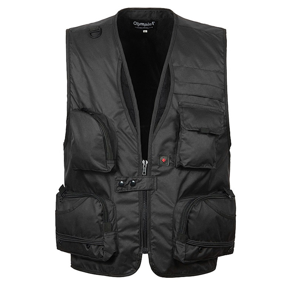 Men Sports Photography Fishing Vest Multifunction Pockets Waistcoat Jacket Breathable Quick Dry Mesh Vest Color:black... by
