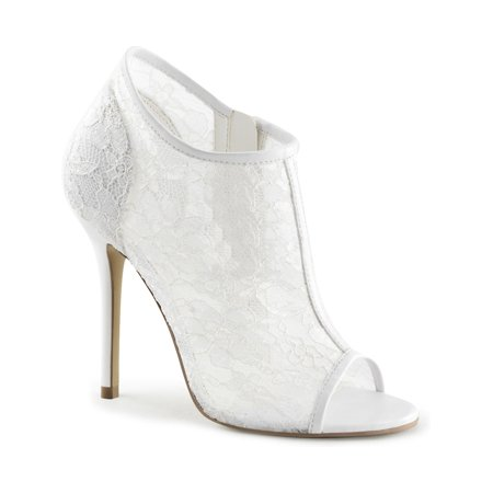 - womens open toe booties ivory lace overlay 5 inch high heel shoes side zipper