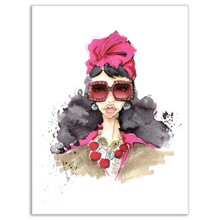 DESIGN ART Designart 'Portrait of Trendy Girl in Sunglasses' Glamour Painting Print on Wrapped (Sunglasses Painting)