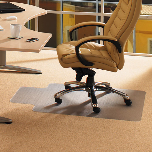 "Cleartex Advantagemat | Chair Mat for Low Pile Carpets | Clear PVC | Rectangular with Lip | Size 36"" x 48"