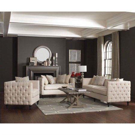 Outstanding Coaster Claxton 3 Piece Tufted Fabric Sofa Set In Beige Frankydiablos Diy Chair Ideas Frankydiabloscom