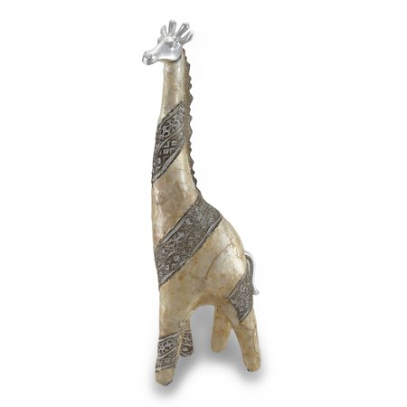 Abstract Capiz Shell Giraffe Statue W/ Chrome Accents