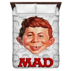 Mad Alfred Head Queen Duvet Cover White 88X88